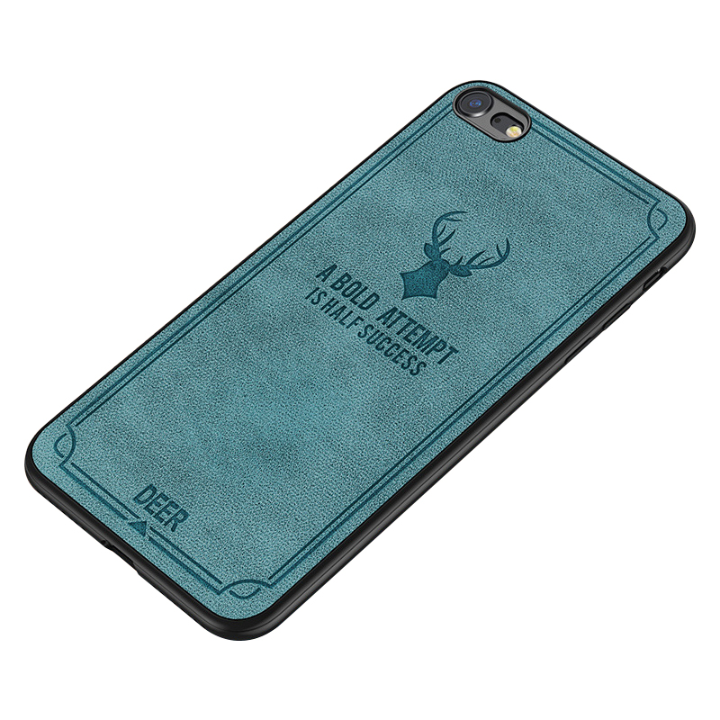 Retro Deer Pattern Ultra Slim Shockproof TPU Bumper Case Back Cover for iPhone 7/8 - Blue