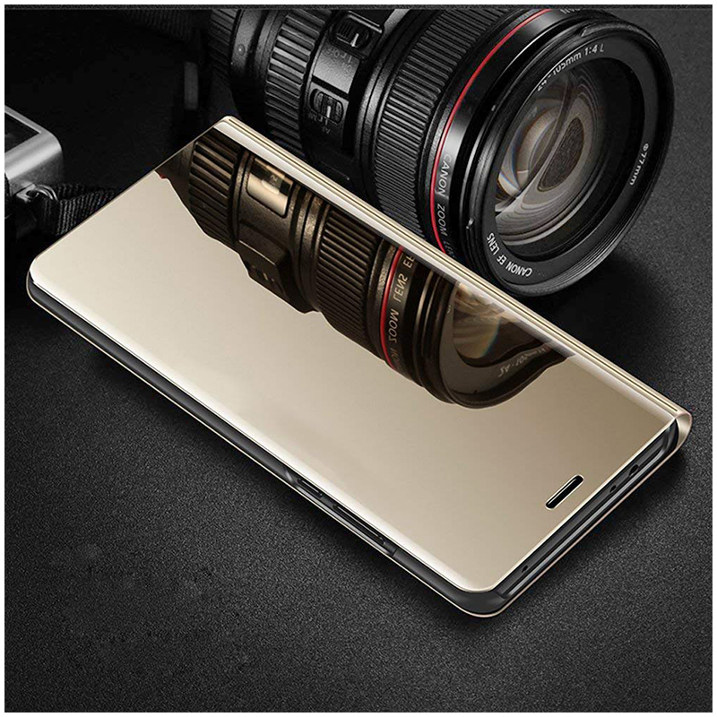 Mirror Plating PU Leather Flip Stand Case Ultra Slim Thin Full Body Protective Cover for iPhone 6/6S - Golden