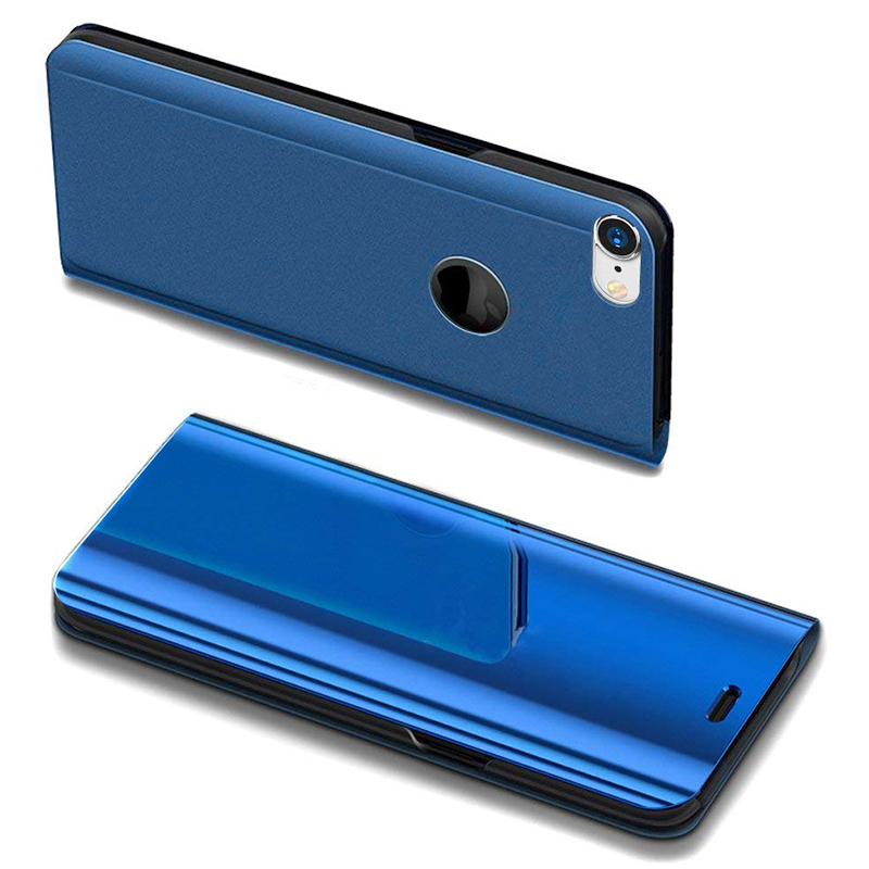 Mirror Plating PU Leather Flip Stand Case Ultra Slim Thin Full Body Protective Cover for iPhone 6/6S - Blue