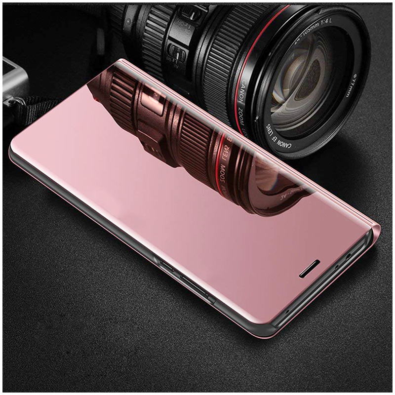 Mirror Plating PU Leather Flip Stand Case Ultra Slim Thin Full Body Protective Cover for iPhone 6/6S - Rose Golden