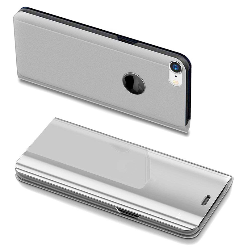 Mirror Plating PU Leather Flip Stand Case Ultra Slim Thin Full Body Protective Cover for iPhone 6/6S - Silver