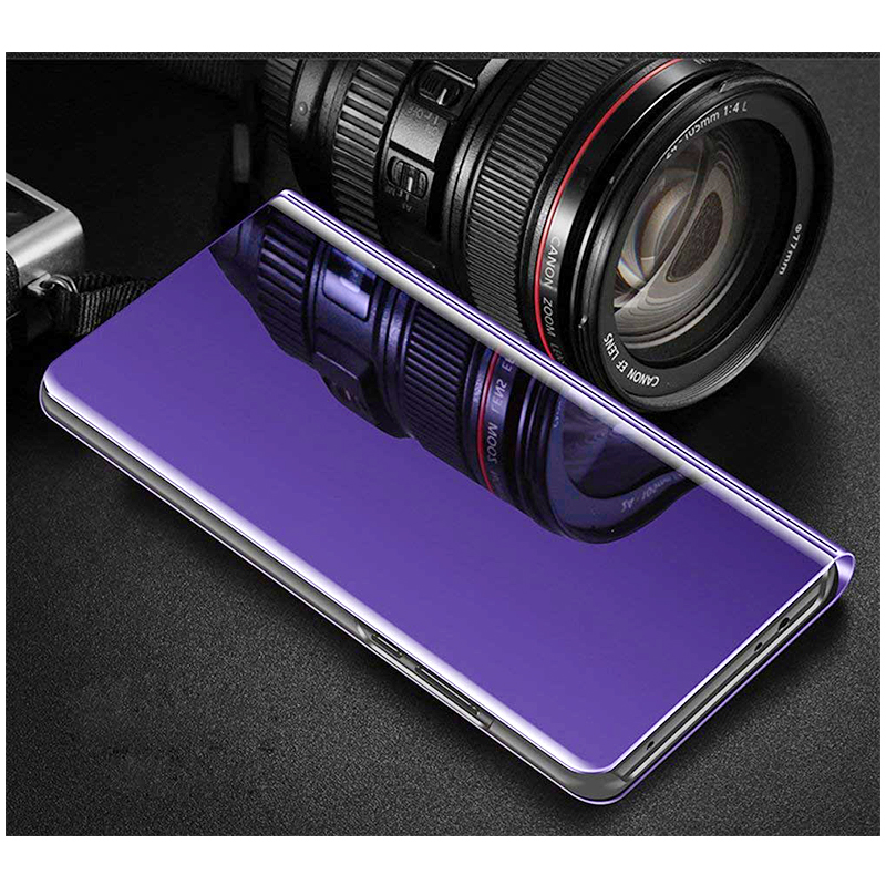 Mirror Plating PU Leather Flip Stand Case Ultra Slim Thin Full Body Protective Cover for iPhone 6/6S - Purple