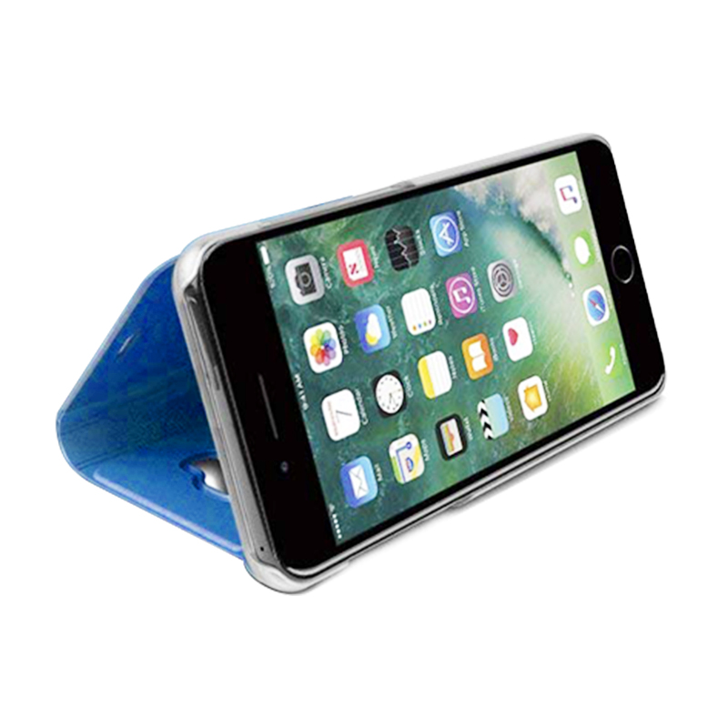 Luxury Mirror Electroplate Plating Case Clear View Flip Stand PU Leather Cover for iPhone 6/6S Plus - Blue