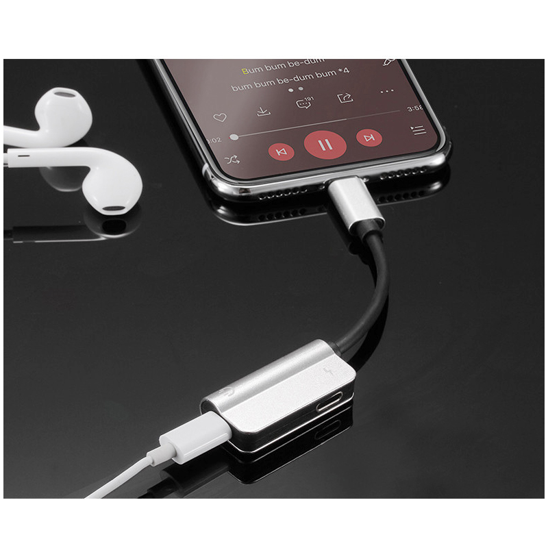 2in1 Dual Lightning Adapter Headphone Audio Charge Cable Splitter for iPhone iPad - Silver