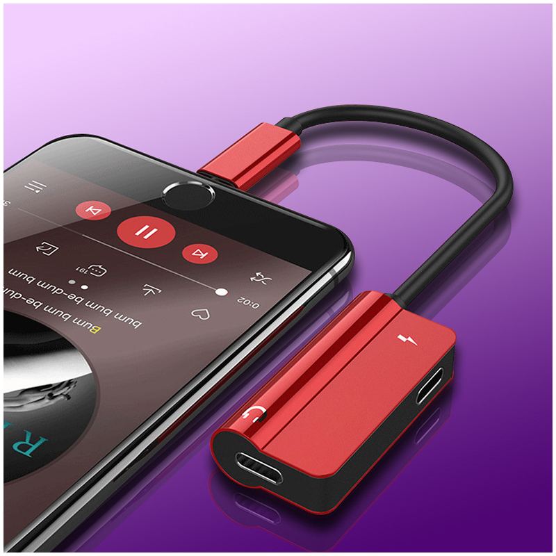 2in1 Dual Lightning Adapter Headphone Audio Charge Cable Splitter for iPhone iPad - Red