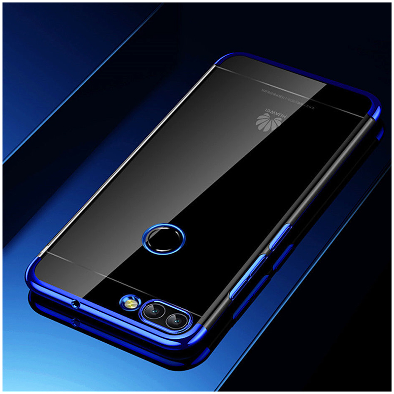 Ultra-Slim Dual-Color TPU Case Stylish Soft Clear Silicone Shockproof Back Cover for Huawei P Smart - Blue
