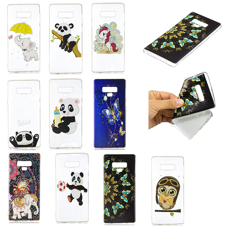 3D Pattern Painting Clear Soft TPU Shockproof Case Back Cover for Samsung Note 9 - Pattern 1