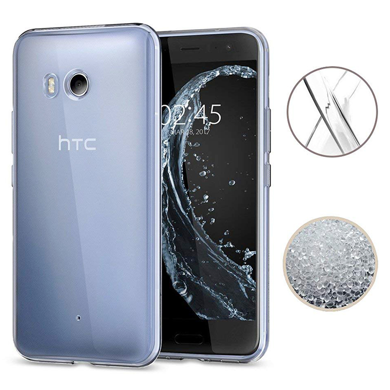 Slim Light Crystal Clear Soft TPU Silicone Shockproof Case Back Cover for HTC U11