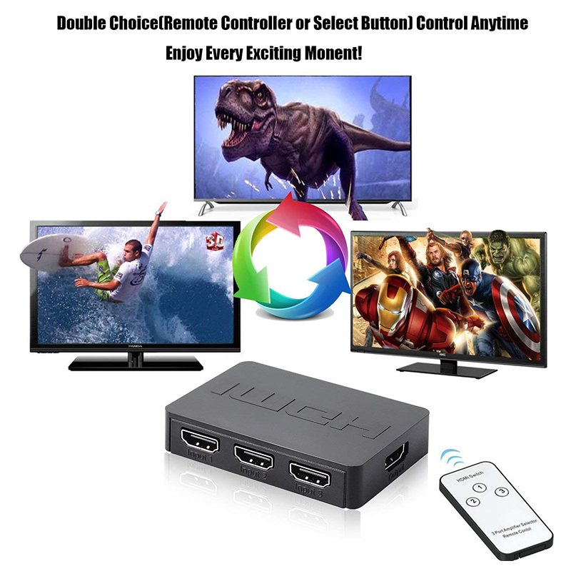 HDMI Switch Splitter Switcher Box 3-Port 3 In 1 Out 3x1 Monitor with Remote Control
