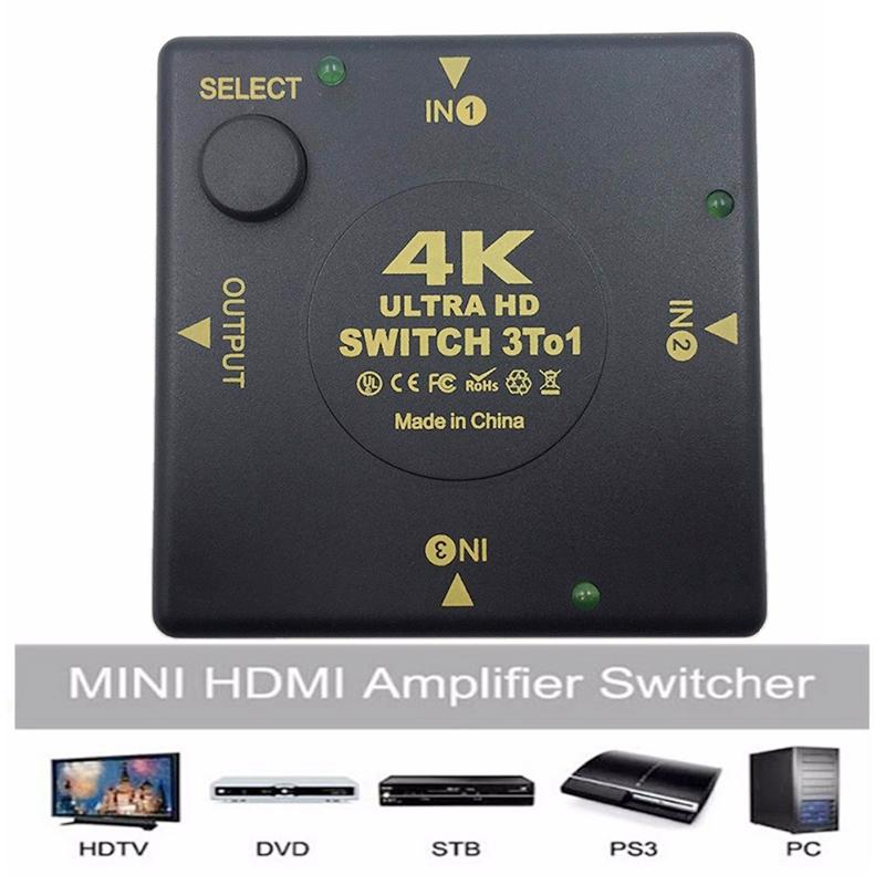 3 Port HDMI Switch Splitter 4K*2K 3D Mini 3 In 1 Out HDMI Switcher - Square