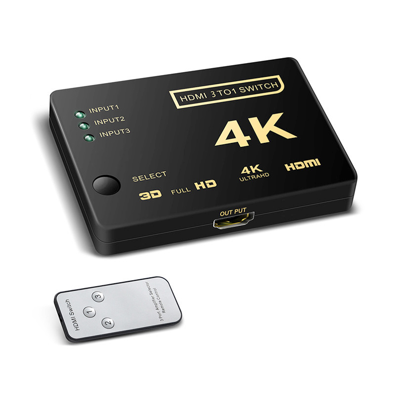 3 Port Mini HDMI Switcher Splitter 4K*2K 3D 3 In 1 Out HDMI Switch with Remote