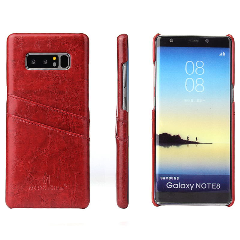 Ultra-Slim Retro Vintage PU Leather Case Back Cover Shell with Card Slots for Samsung Note 8 - Red
