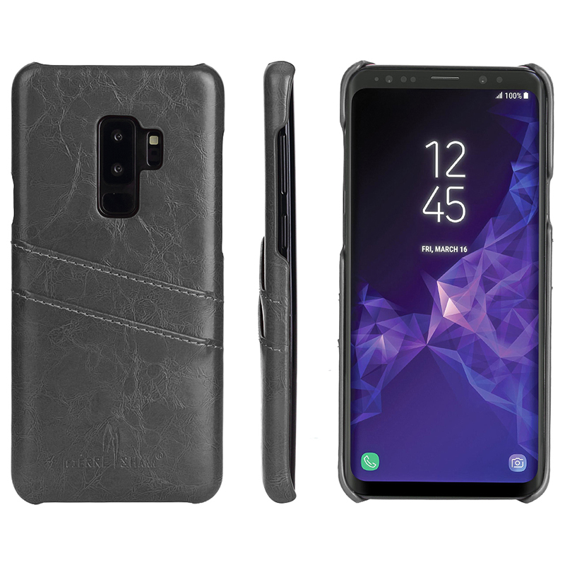 Ultra Slim Retro PU Leather Card Slot Back Case Cover for Samsung S9 Plus - Grey