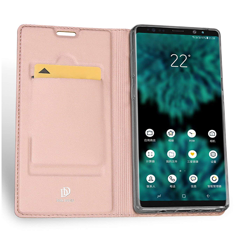 Luxury Ultra-thin Soft PU Leather Flip Stand Case Cover for Samsung Note 9 - Rose Golden