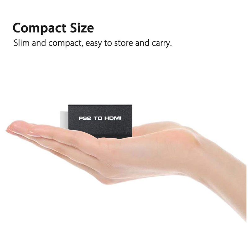 PS2 to HDMI Converter Adapter Supports All PS2 Display Modes with 3.5mm Audio Output for HDTV HDMI Monitor
