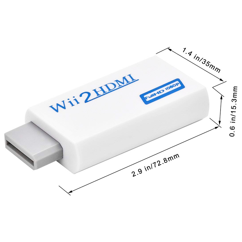 Wii to HDMI Converter Adapter with 3.5mm Audio Video Output Supports All Wii Display Modes - White