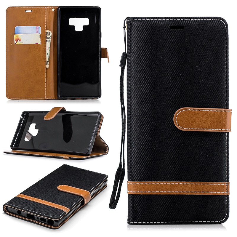 Jean Cloth Fabric Hybrid PU Leather Wallet Stand Case Cover for Samsung Note 9 - Black
