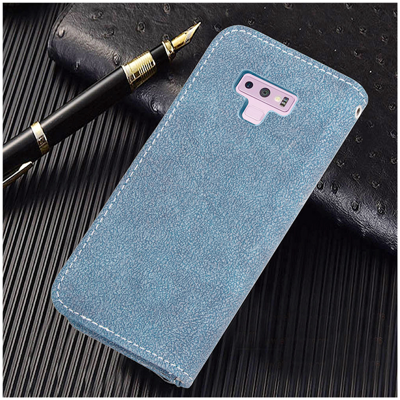 Grind Texture Multi-Pockets Magnetic PU Leather Case Cover Shell for Samsung Note 9 - Blue