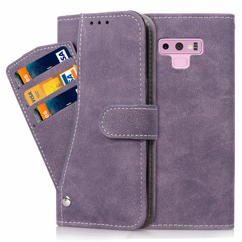 Grind Texture Multi-Pockets Magnetic PU Leather Case Cover Shell for Samsung Note 9 - Purple