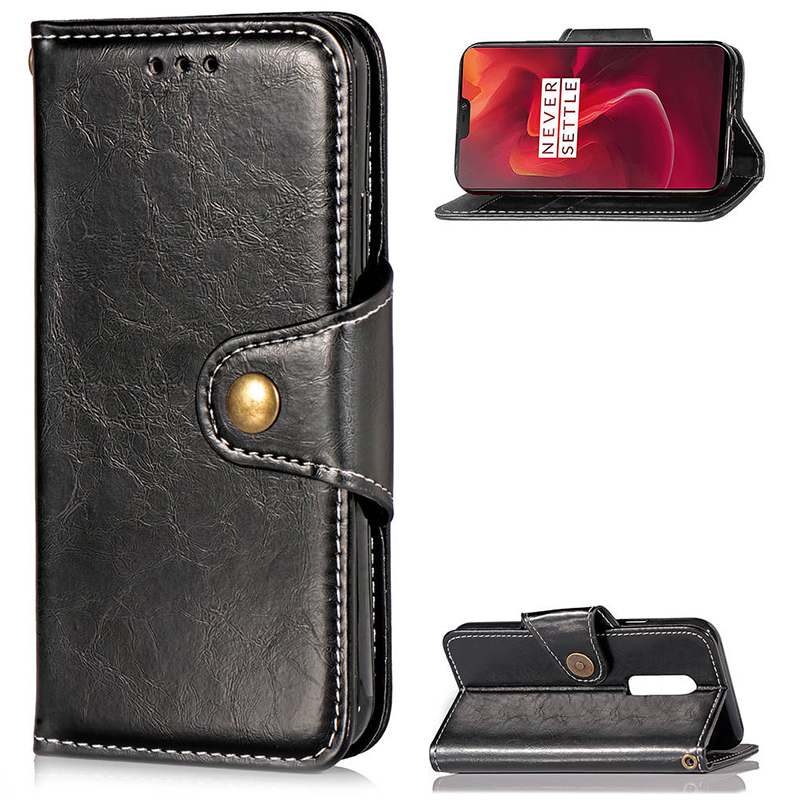 OnePlus 6 Luxury Vintage Soft PU Leather Shockproof Case Cover Shell - Black