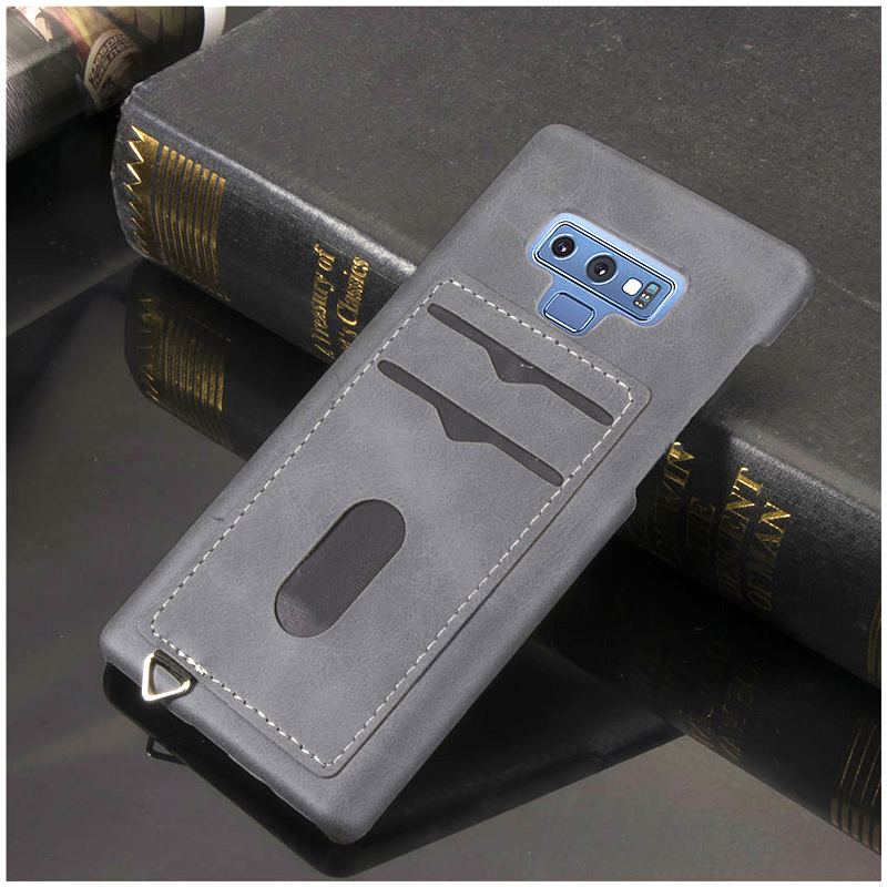 Slim Thin Card Slots PU Leather Case Back Cover for Samsung Note 9 - Grey