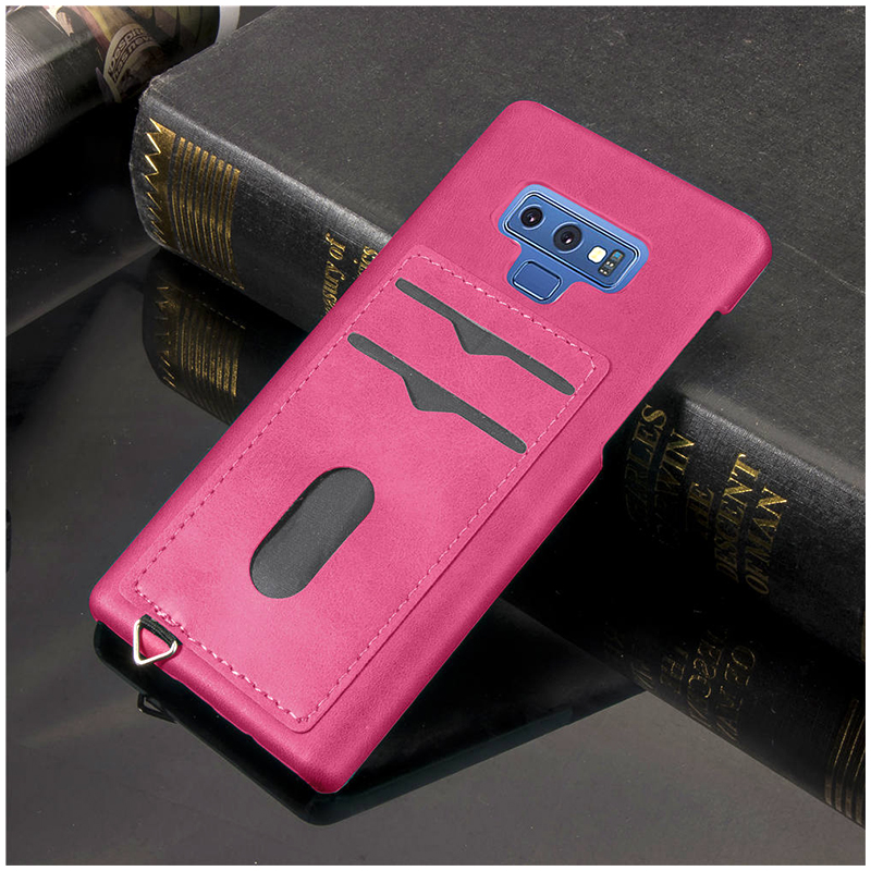 Slim Thin Card Slots PU Leather Case Back Cover for Samsung Note 9 - Rose Red