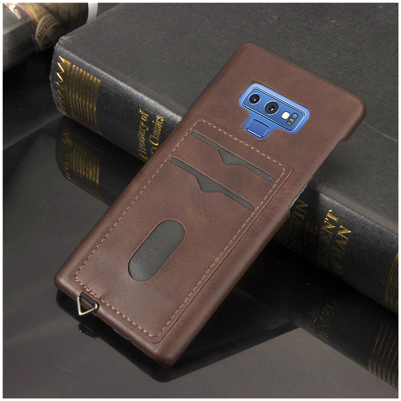 Slim Thin Card Slots PU Leather Case Back Cover for Samsung Note 9 - Brown