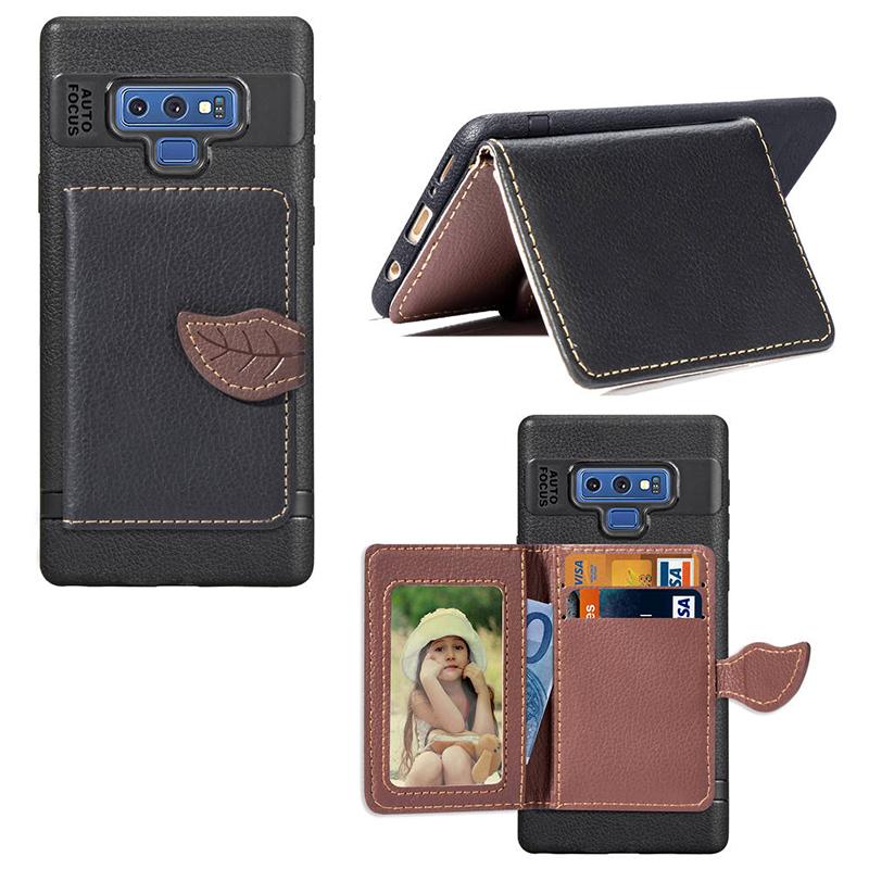 Leaf Magnetic PU Leather Wallet TPU Case Back Cover for Samsung Note 9 - Black