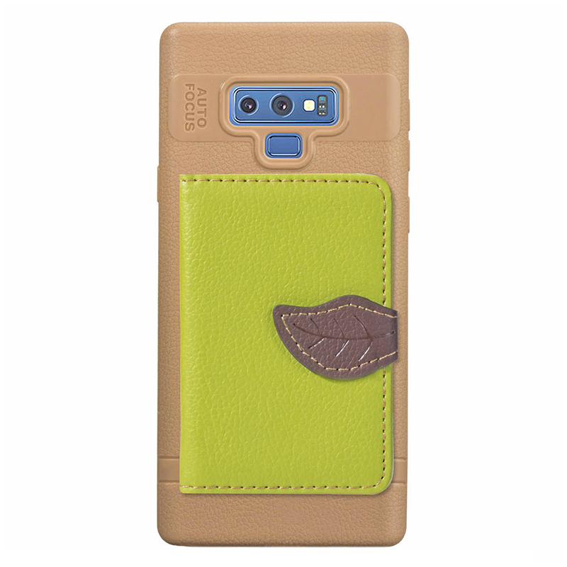 Leaf Magnetic PU Leather Wallet TPU Case Back Cover for Samsung Note 9 - Green