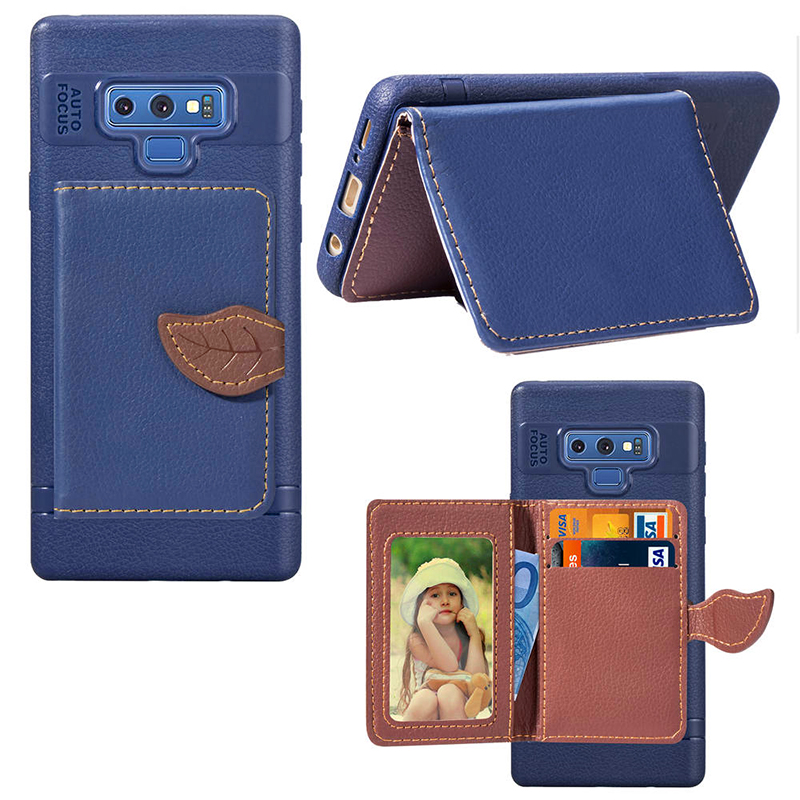 Leaf Magnetic PU Leather Wallet TPU Case Back Cover for Samsung Note 9 - Blue