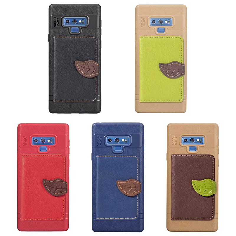 Leaf Magnetic PU Leather Wallet TPU Case Back Cover for Samsung Note 9 - Brown
