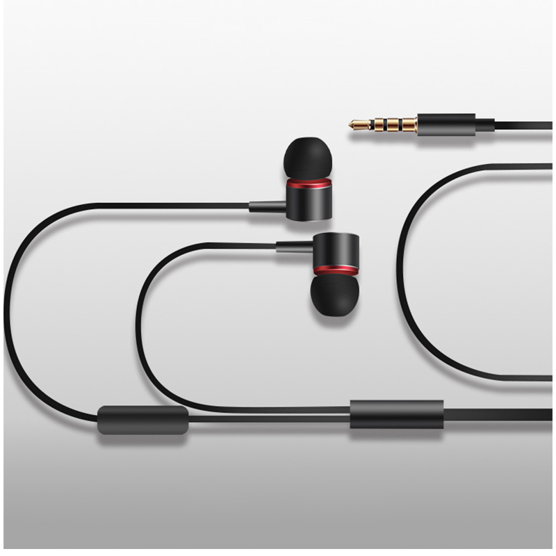 KDK-206 3.5mm Metal In-Ear Earphone Stereo Wired Earbuds Headset Headphone with Microphone - Black