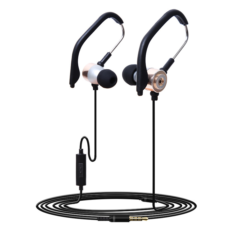 KDK-209 3.5mm Universal Hanging Ear Metal Sports Earphone Headphone with Wire Control - Golden