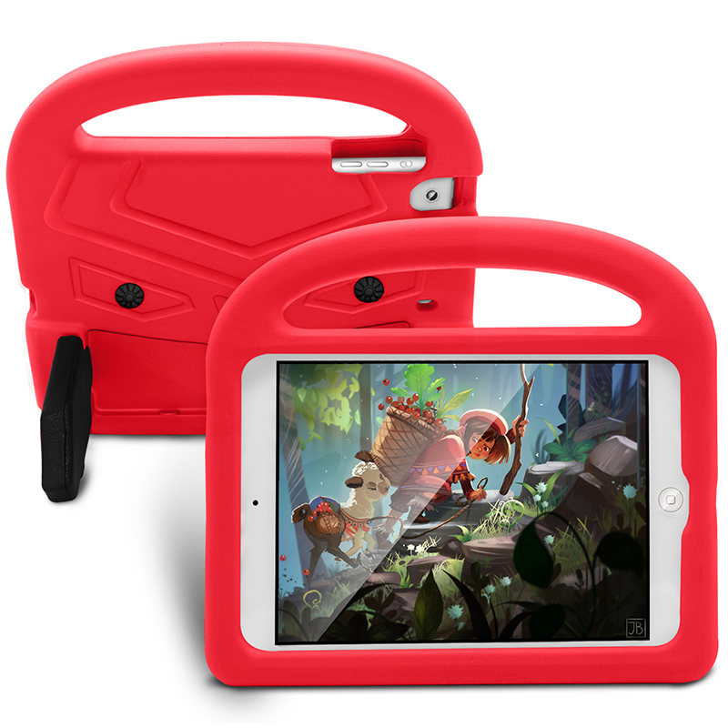 Kids Shockproof EVA Foam Stand Case Cover for Apple iPad Mini 2/3/4 - Red