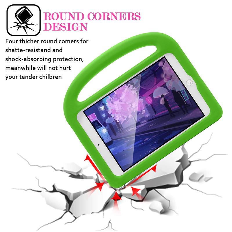 Kids Shockproof EVA Foam Stand Case Cover for Apple iPad Mini 2/3/4 - Green