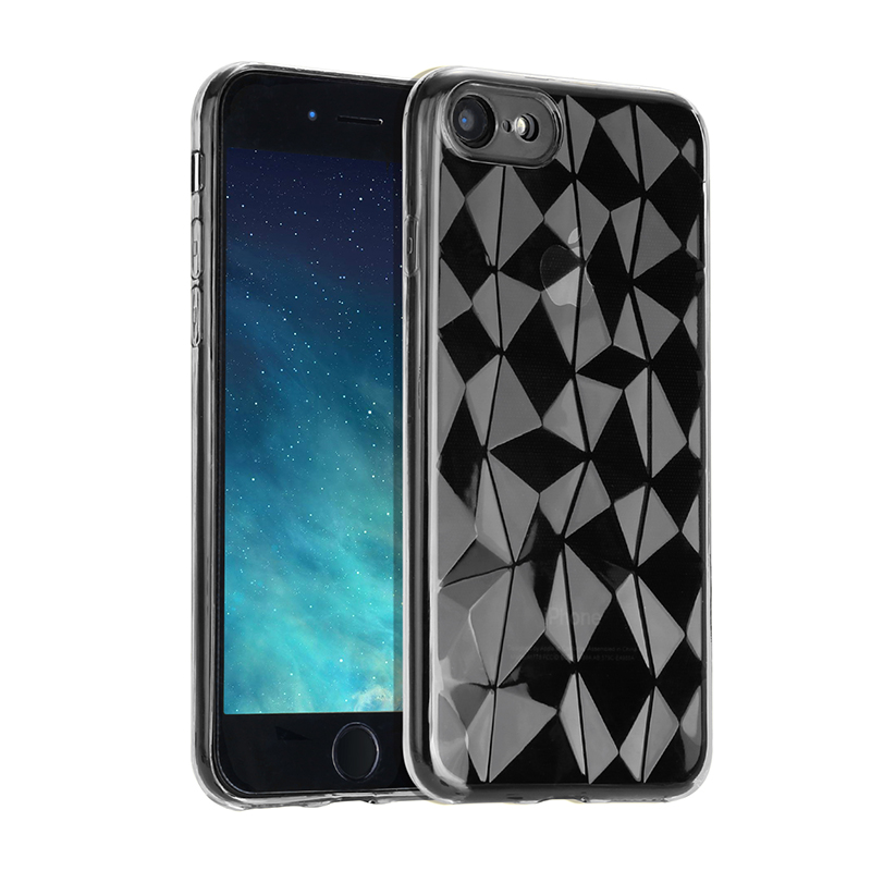 Slim Diamond Texture Soft TPU Case Anti Slip Silicone Back Cover for iPhone 7/8 - Black