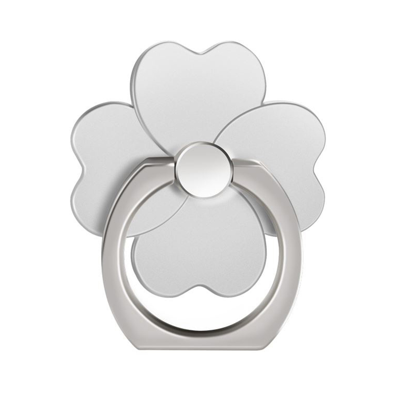 Four Leaf Clover Cellphone Finger Ring Holder 360 Rotation Stand Mount for Mobile Phone Tablet - Silver