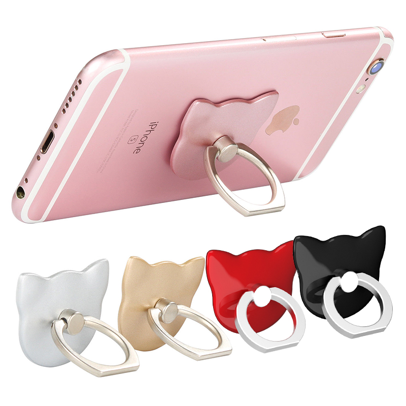 Cat Face Universal Phone Finger Ring Holder Stand with 360 Degree Kickstand - Golden