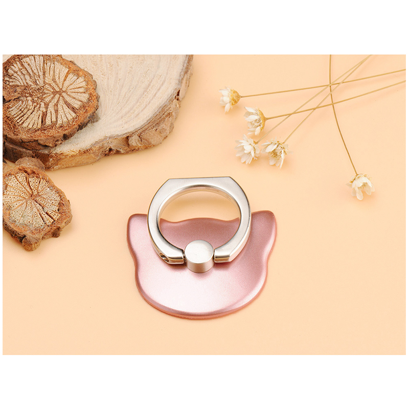 Cat Face Universal Phone Finger Ring Holder Stand with 360 Degree Kickstand - Rose Golden