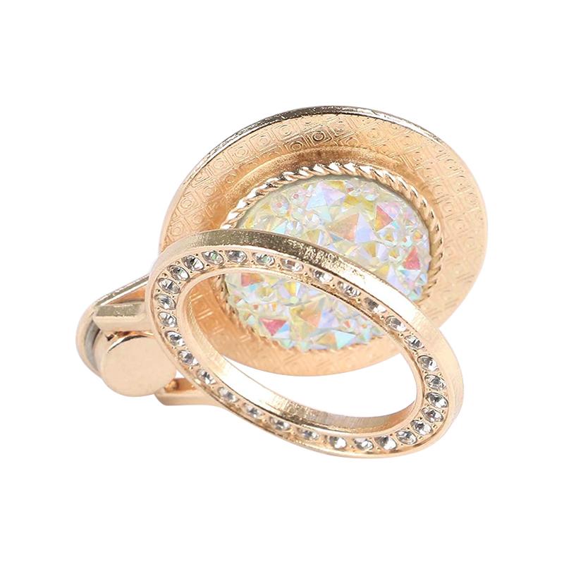Fashion Diamond Phone Finger Ring Holder Universal 360 Rotating Stand - Golden