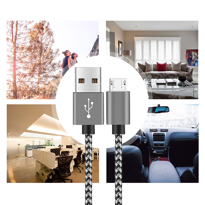 2M Fashion Braided Woven Micro USB Charge Data Cable Cord - Silver