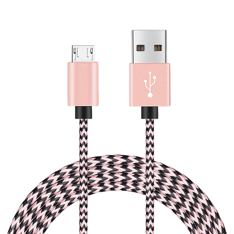 2M Fashion Braided Woven Micro USB Charge Data Cable Cord - Rose Golden