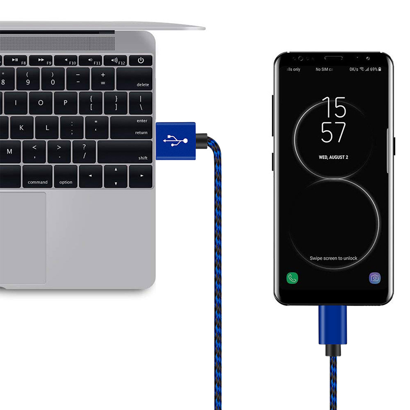 3M Fashion Braided Woven Micro USB Charge Data Cable Cord - Blue