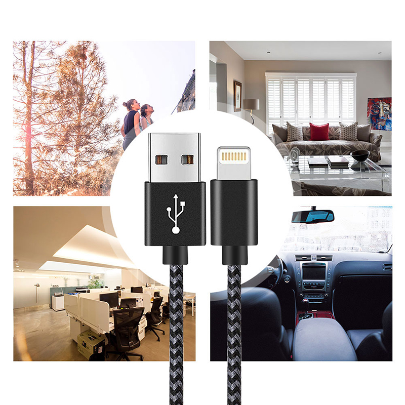 2M Braided Lightning Cable Slim Woven Data Sync Charge Charging Cord for iPhone iPad - Black