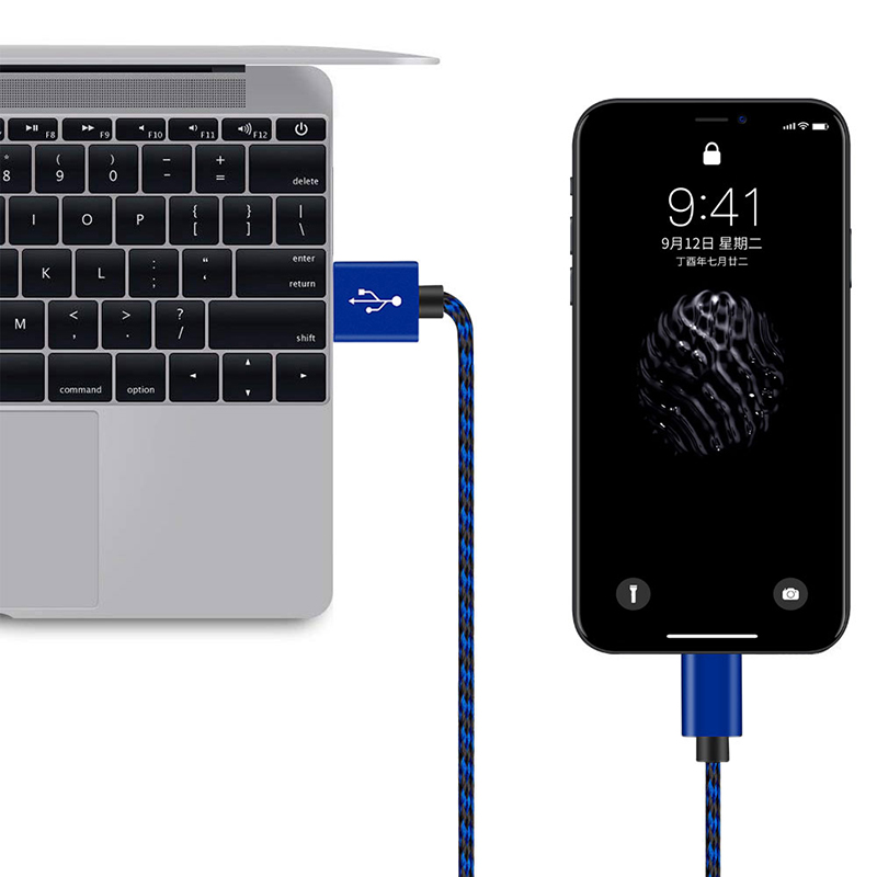 2M Braided Lightning Cable Slim Woven Data Sync Charge Charging Cord for iPhone iPad - Blue