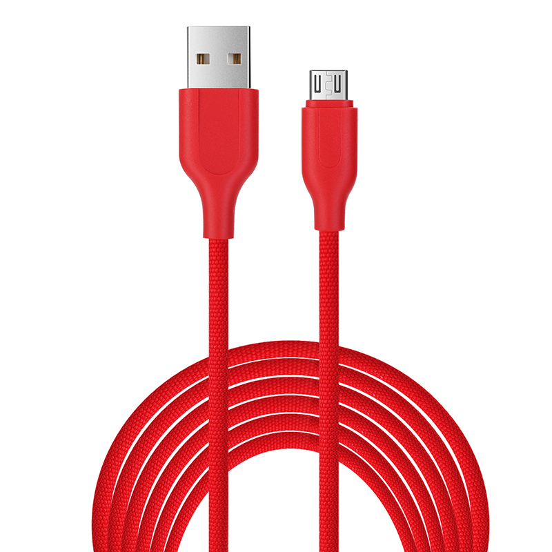 1M Luxury Braided Micro USB Charge Charging Cable Data Sync Wire Cord - Red