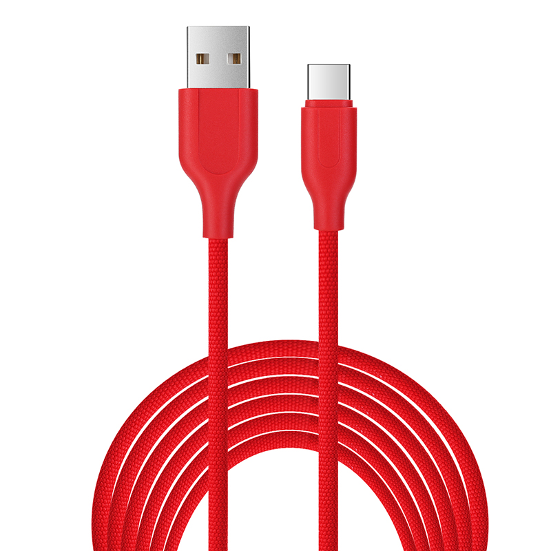 1M Luxury Braided Type C Charge Charging Cable Data Sync Wire Cord - Red