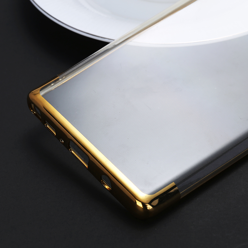 Contrast Color TPU Case Slim Luxury Clear Soft Silicone Shockproof Back Cover for Samsung Note 9 - Golden