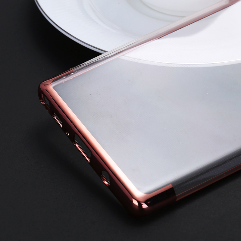 Contrast Color TPU Case Slim Luxury Clear Soft Silicone Shockproof Back Cover for Samsung Note 9 - Rose Golden