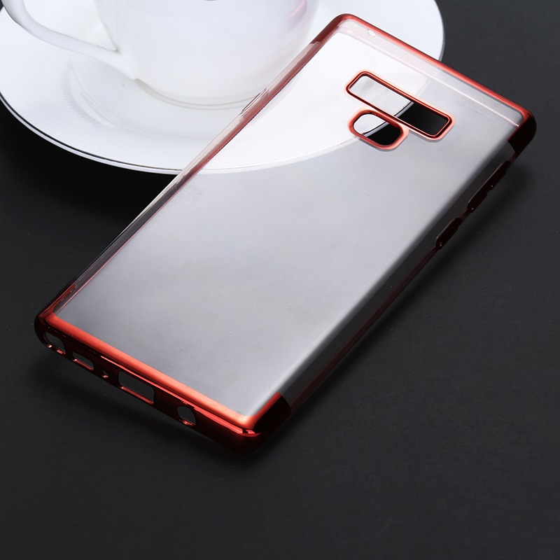 Contrast Color TPU Case Slim Luxury Clear Soft Silicone Shockproof Back Cover for Samsung Note 9 - Red